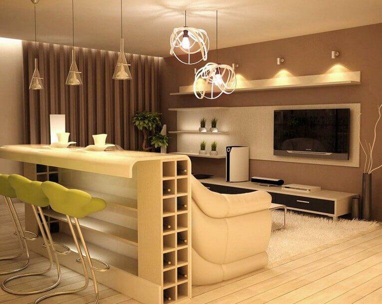 Барная стойка в гостиной совмещенной с кухней