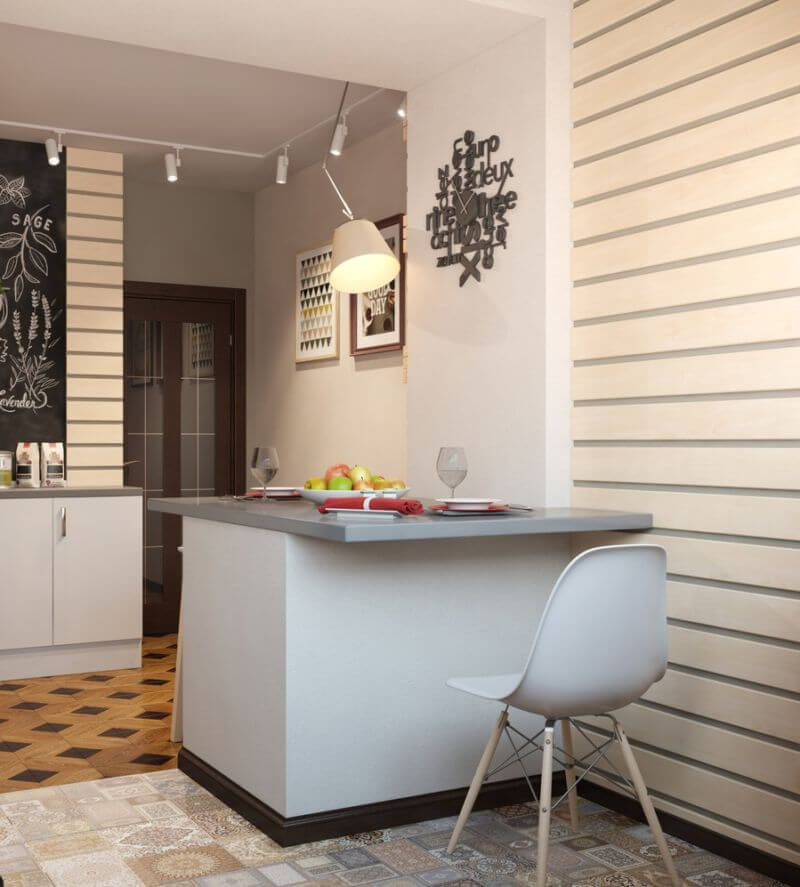 Фото барной стойки совмещающую обеденную зону в интерьере маленькой кухни
