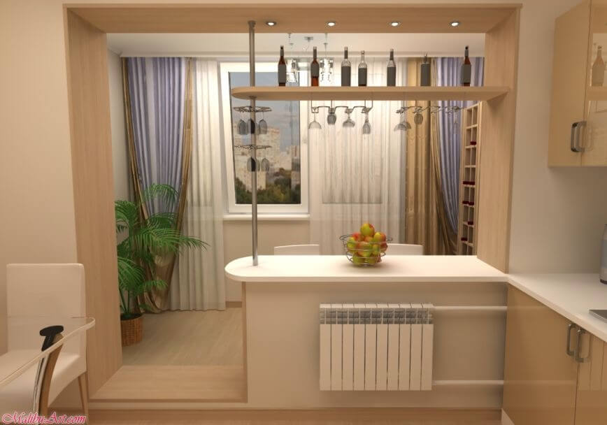 Барная стойка встроенная в оконный проем между кухней и балконом