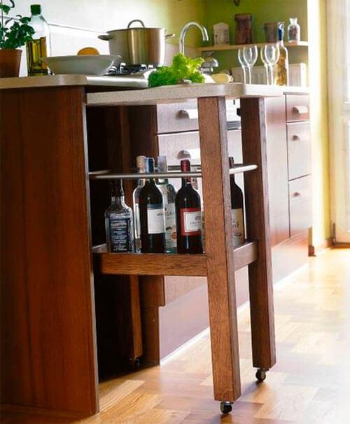 Выдвижная барнрая стойка встроенная в кухонный гарнитур