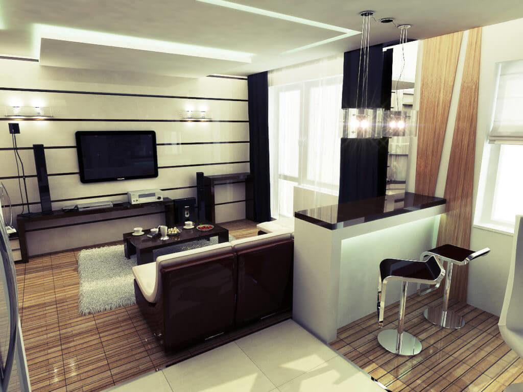 Дизайн квартиры студии с барной стойкой в интерьере