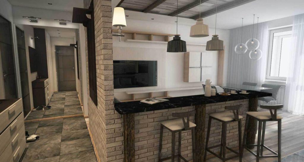 Интерьер студии с встроенной барнйо стойкой с каменной столешницей