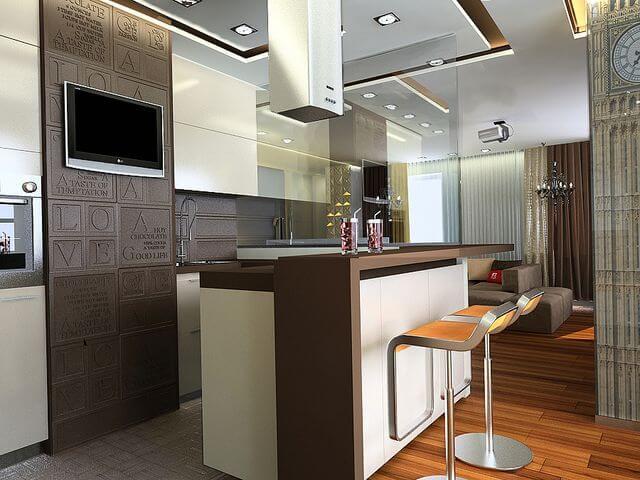 Кухня квартиры студии с барной стойкой
