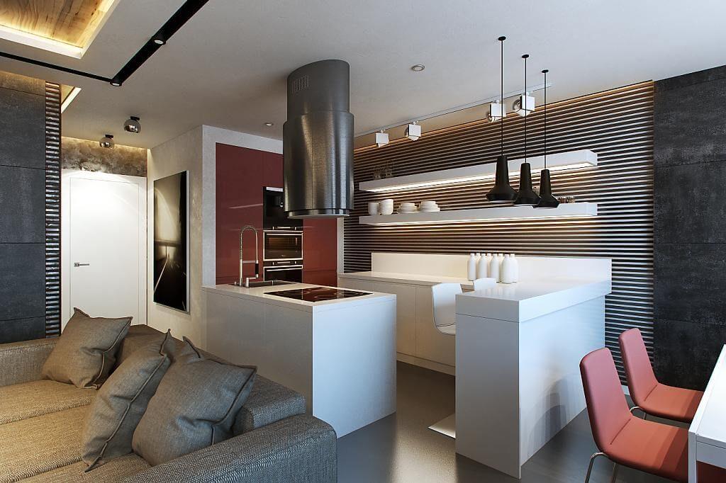 Барная стойка совмещенная с кухонным гарнитуром в интерьере студии