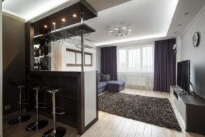 Фото квартиры студии с барной стойкой