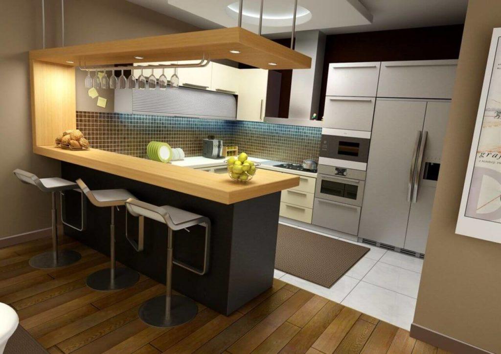 Фото кухни квартиры студии с барной стойкой