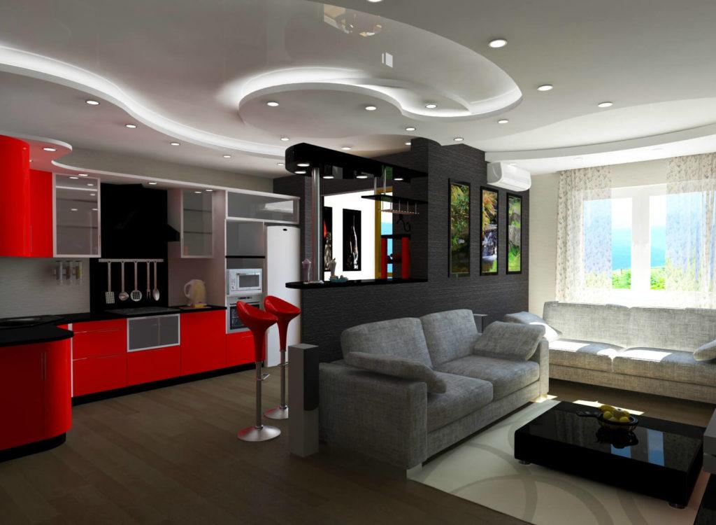 Дизайн квартиры студии с барной стойкой
