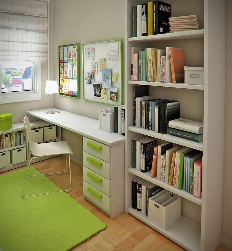 Книжный шкаф с открытым фасадом в интерьере детской
