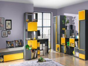 интерьер комнаты подростка со шкафами