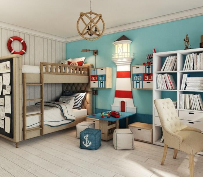 Детская комната с книжным шкафом в интерьере
