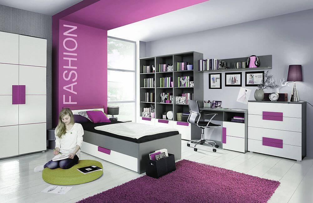 Комната для девочки подростка с книжным шкафом в интерьере