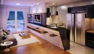 Интерьер гостинной совмещенной с кухней