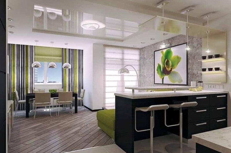 Фото гостиной совмещенной с кухней с барной стойкой