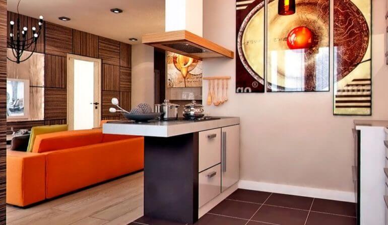 Кухонный полуостров совмещенный с барной стойкой