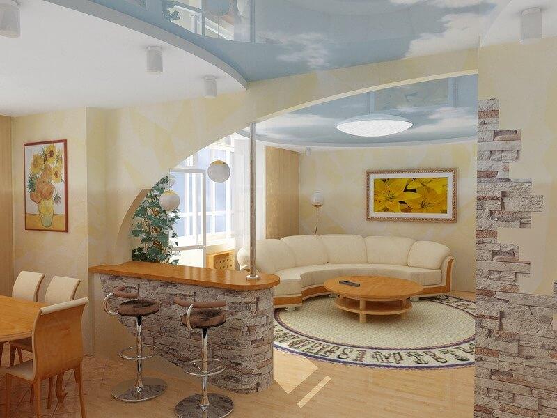Кухня гостиная с встроенной барной стойкой посередине