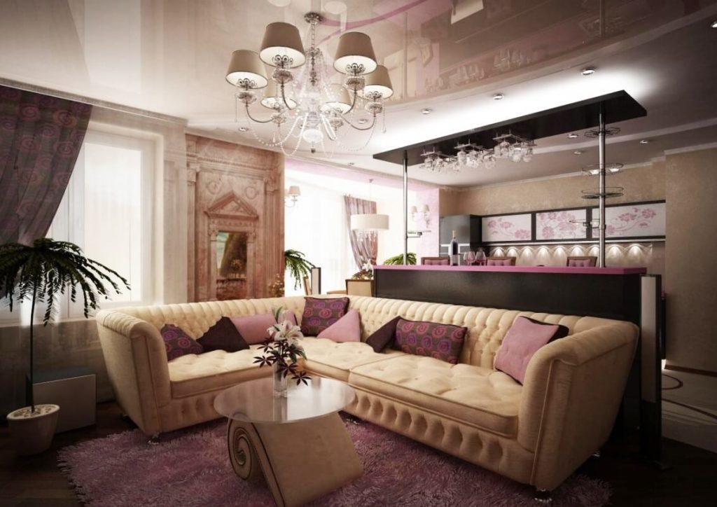 Фото барной стойки в классическом интерьере гостиной совмещенной с кухней