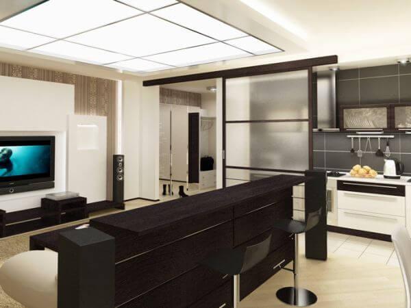 Кухня-гостиная зонированная барной стойкой
