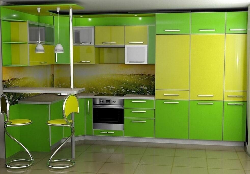Кухонный гарнитур совмещенный с барной стойкой