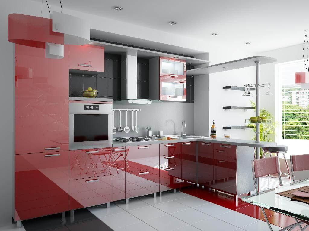 Современный кухонный гарнитур оснащенный барной стойкой