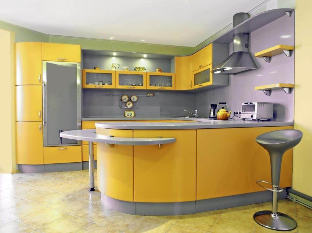 Фото П-образного кухонного гарнитура с придаточной столешницей