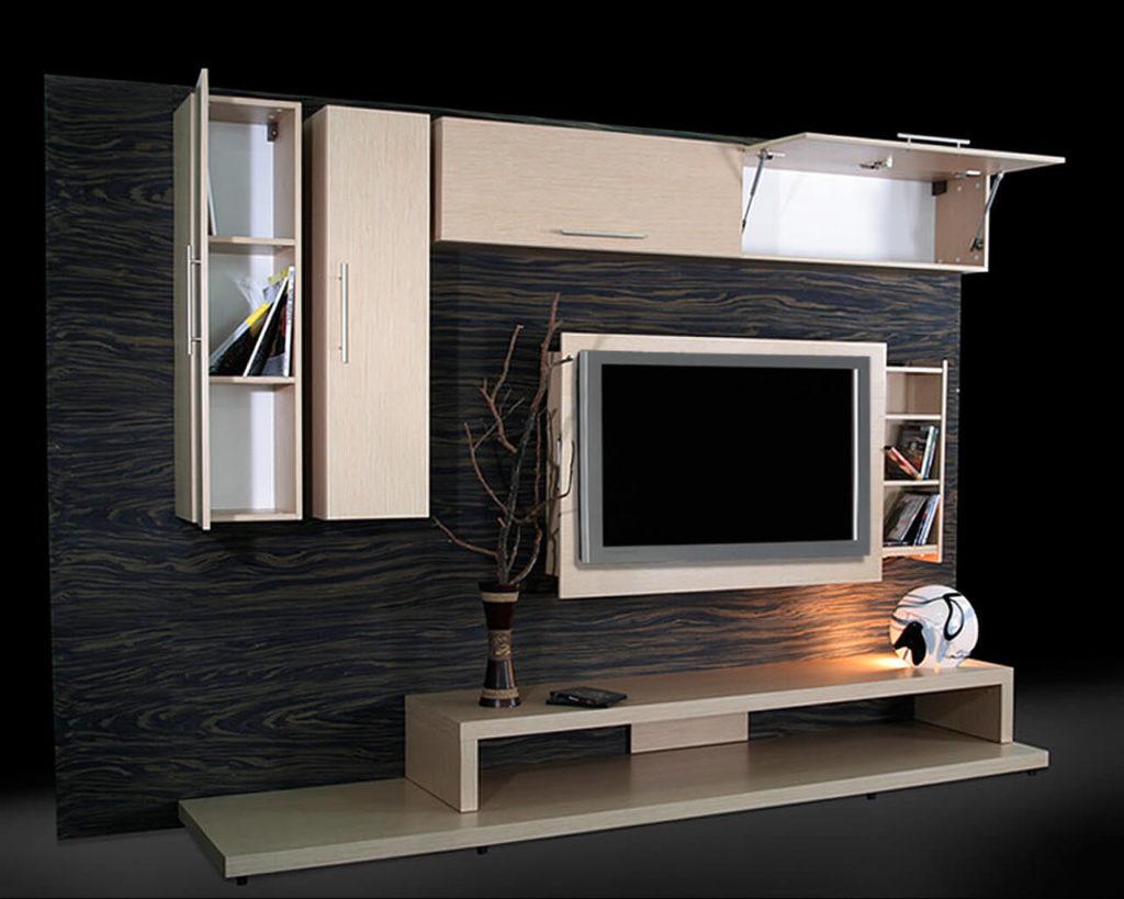 Фото мебели для гостиной с распашным и подъёмным механизмом открытия фасада