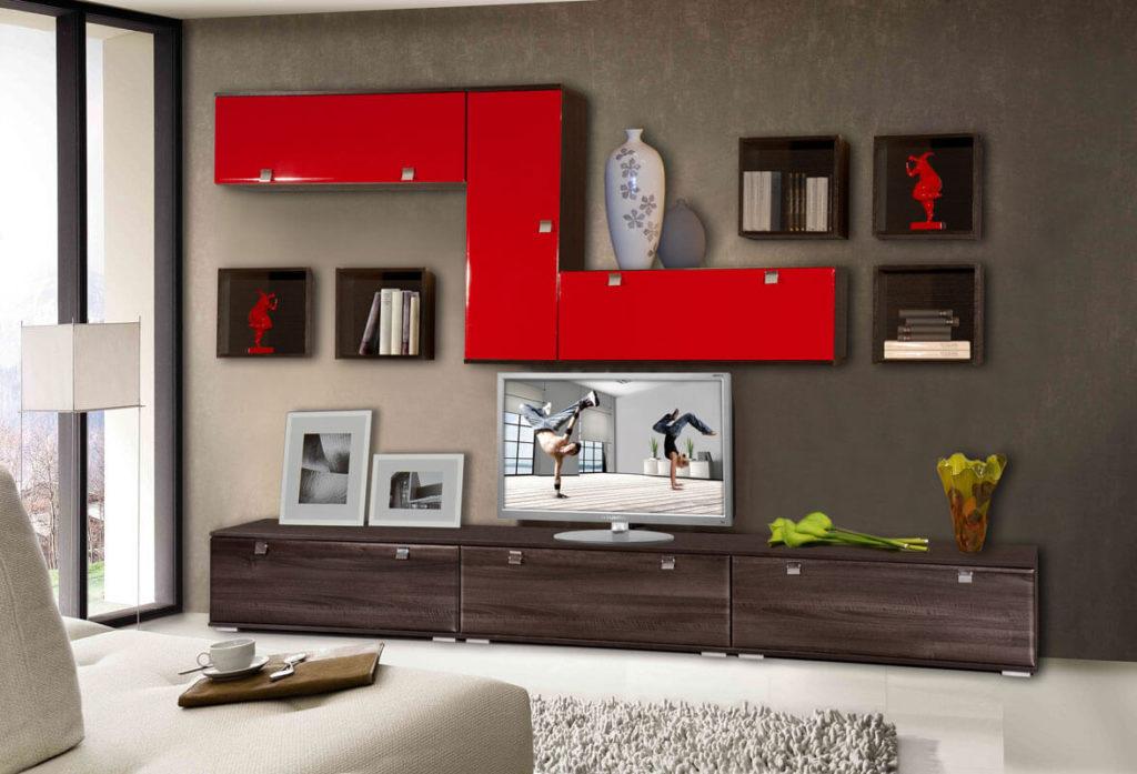 Стенка гостиной с навесными шкафами