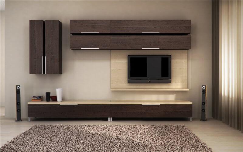 Мебельный гарнитур для гостиной с навесными шкафами