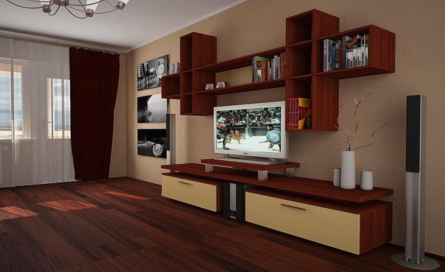 Стенка гостиной с подвесным шкафом