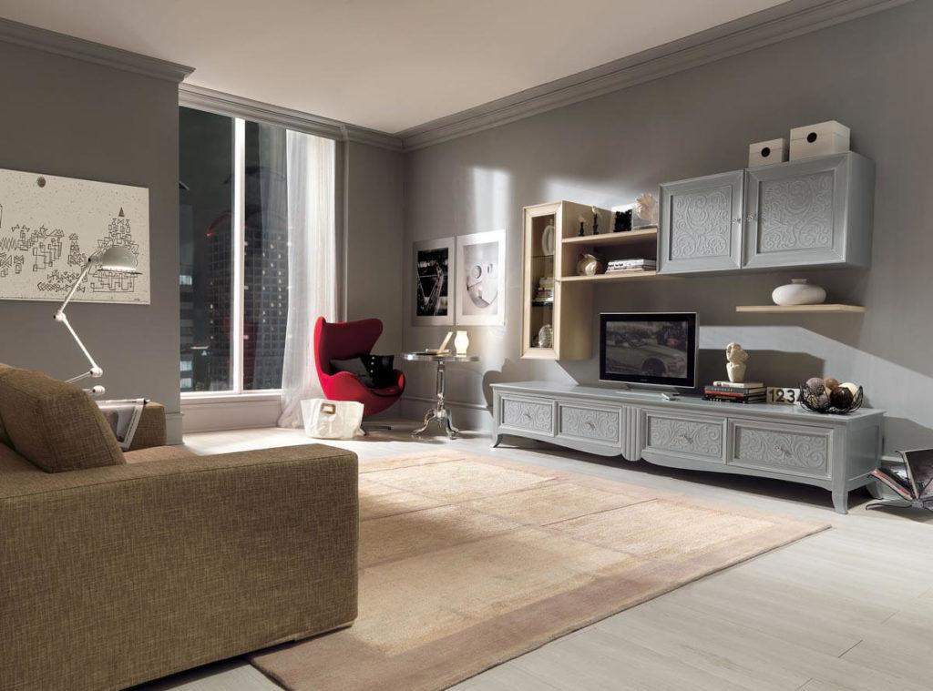 Гостиная в современном классическом стиле с подвесным шкафом