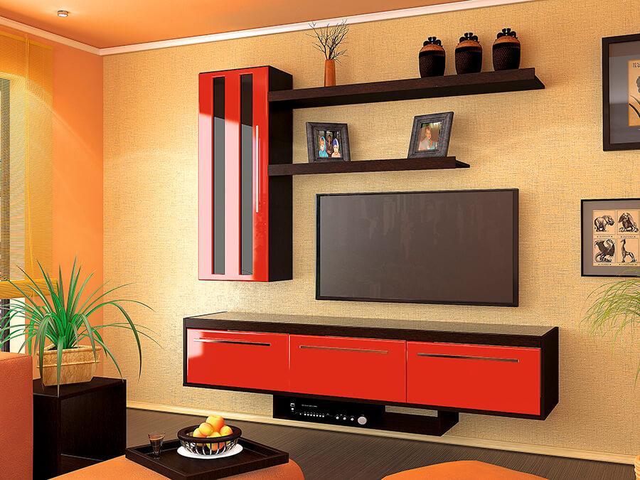 Интерьер гостиной с настенным шкафом