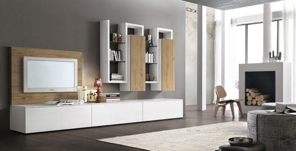 Фото мебели в интерьере гостиной с настенными шкафами пеналами