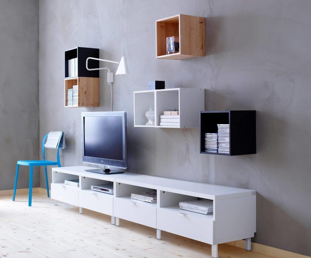 Навесные модульные шкафы в интерьере гостиной