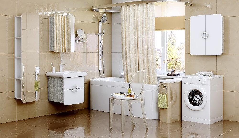 Ванная комната с навесными шкафами