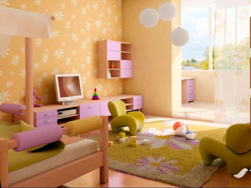 Детская комната девочки с навесными шкафчиками