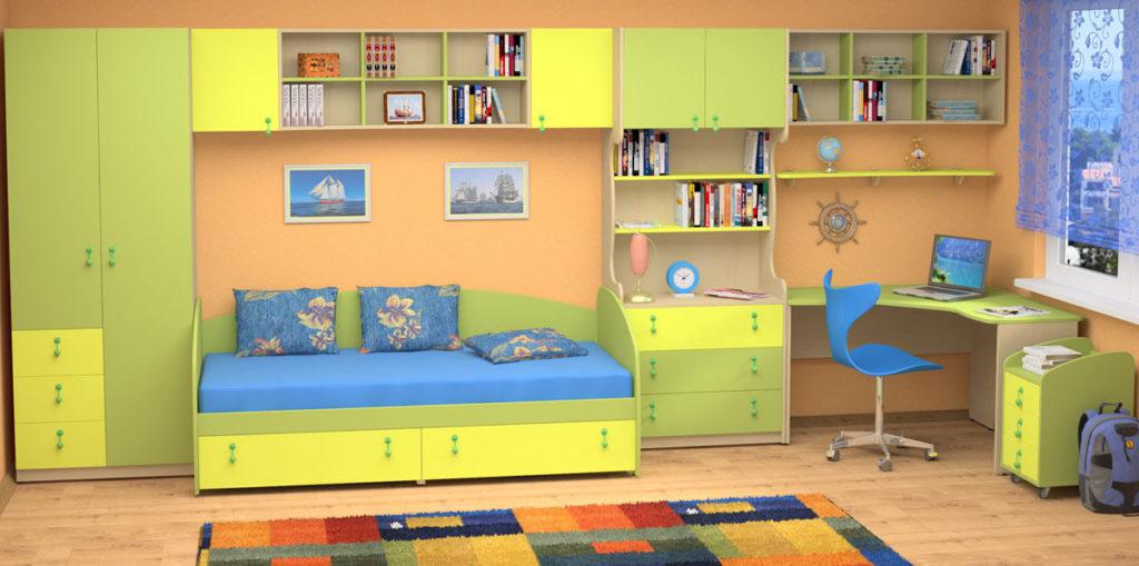 Детский мебельный комплекс с настенными подвесными шкафчиками