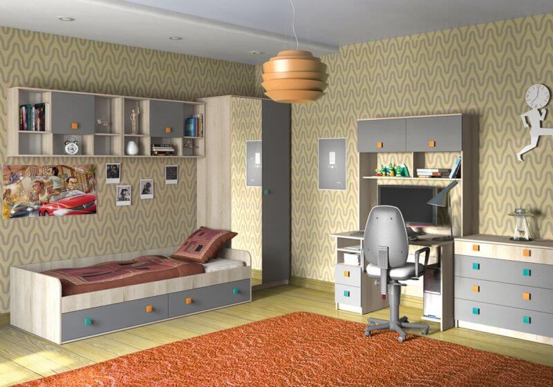 Фото мебели в детской комнате с навесными шкафами с комбинированными фасадами