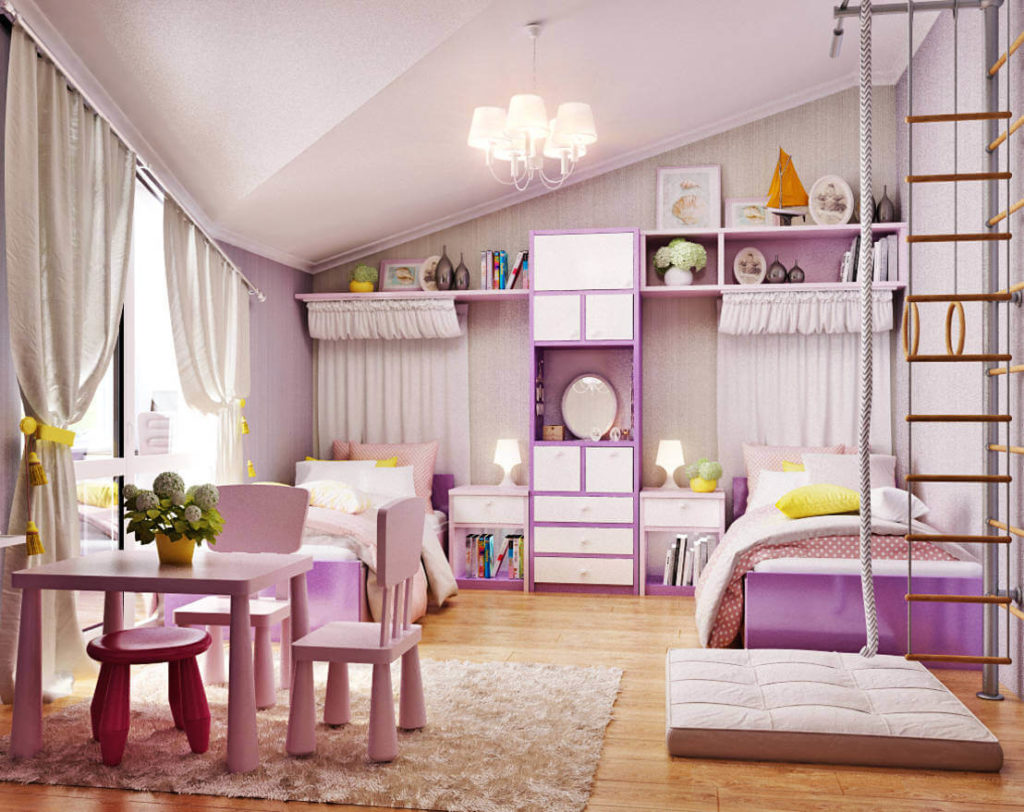Интерьер комнаты девочки с шведсткой стенкой