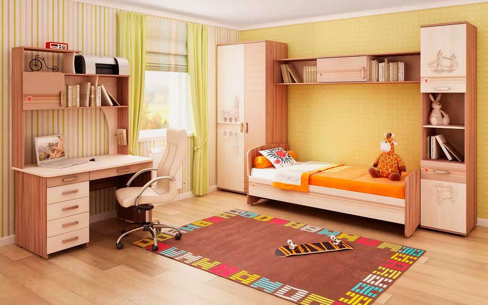 Мебель в детской с навесным шкафчиком