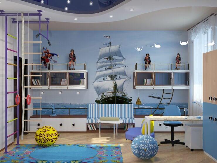 Дизайн детской в морском стиле с навесными шкафами