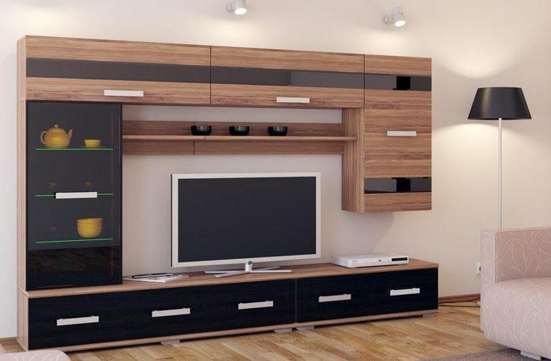 Стенка для гостиной с навесными шкафами