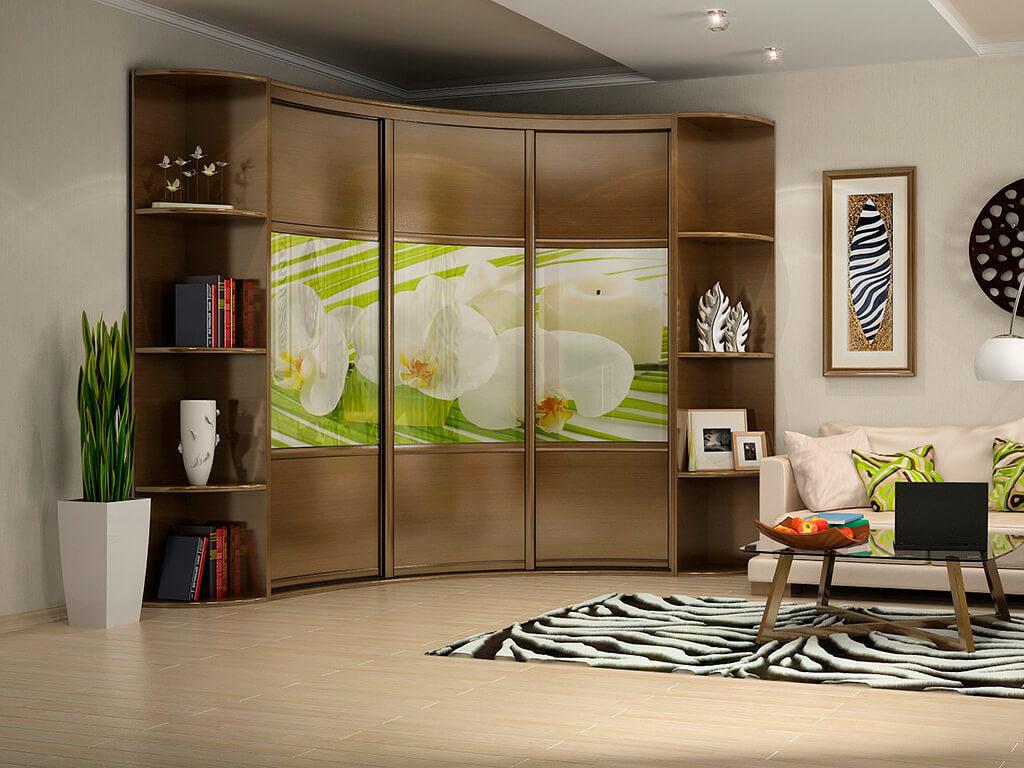 Угловой радиусный шкаф с раздвижными дверцами