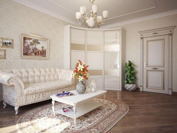 Угловой радиусный шкаф купе для одежды в классическом интерьере