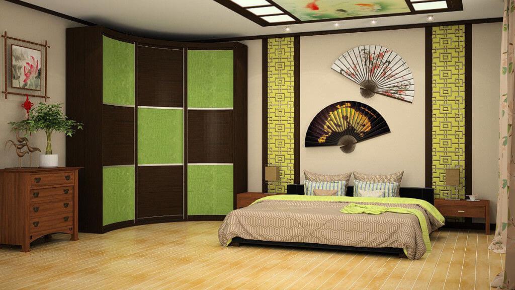 Шкаф с внутренним радиусным фасадом в спальне