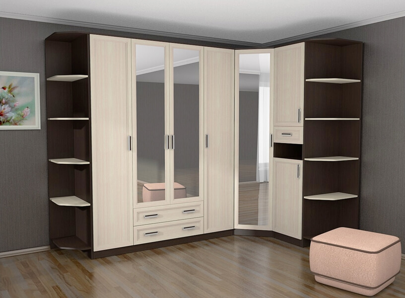 Фото углового шкафа с распашными фасадами и зеркалами