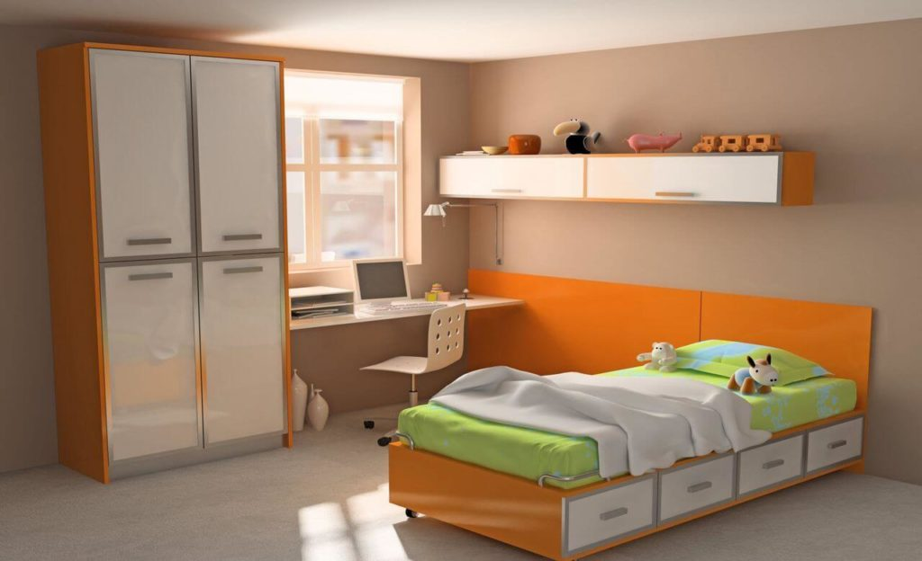 Распашной шкаф с рамочным фасадом из алюминиевого профиля в детской комнате