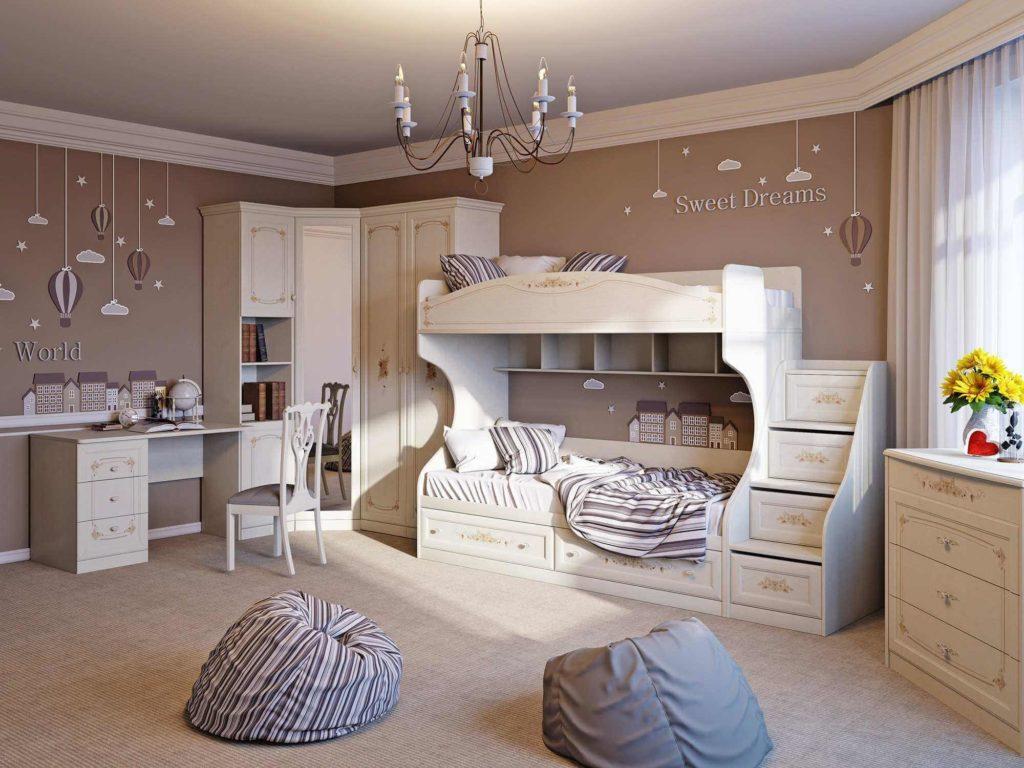 Детская комната в классическом стиле с двухъярусной кроватью и распашным угловым шкафом
