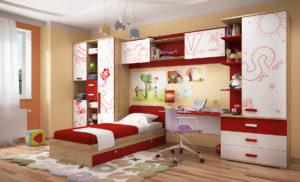 Фото детской комнаты с мебельным комплексом из распашных шкафов, стола и кровати