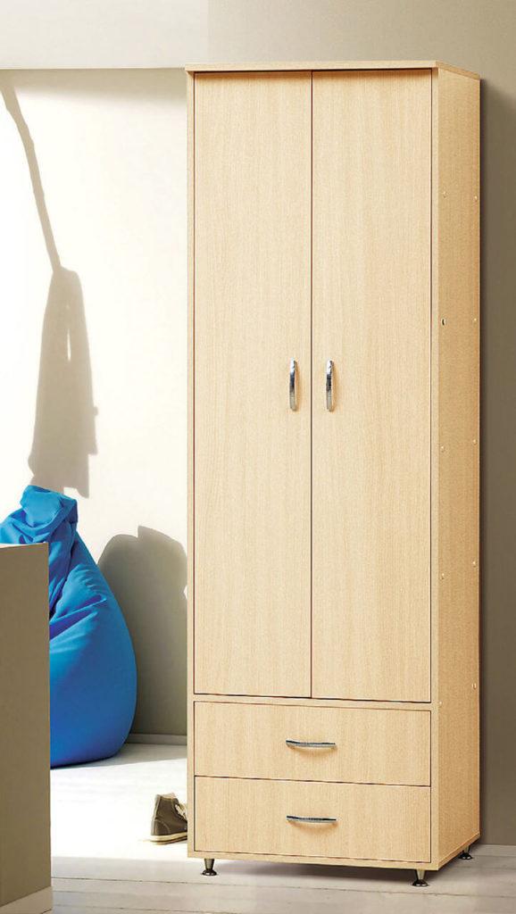 Бельевой двустворчатый шкаф с распашным фасадом