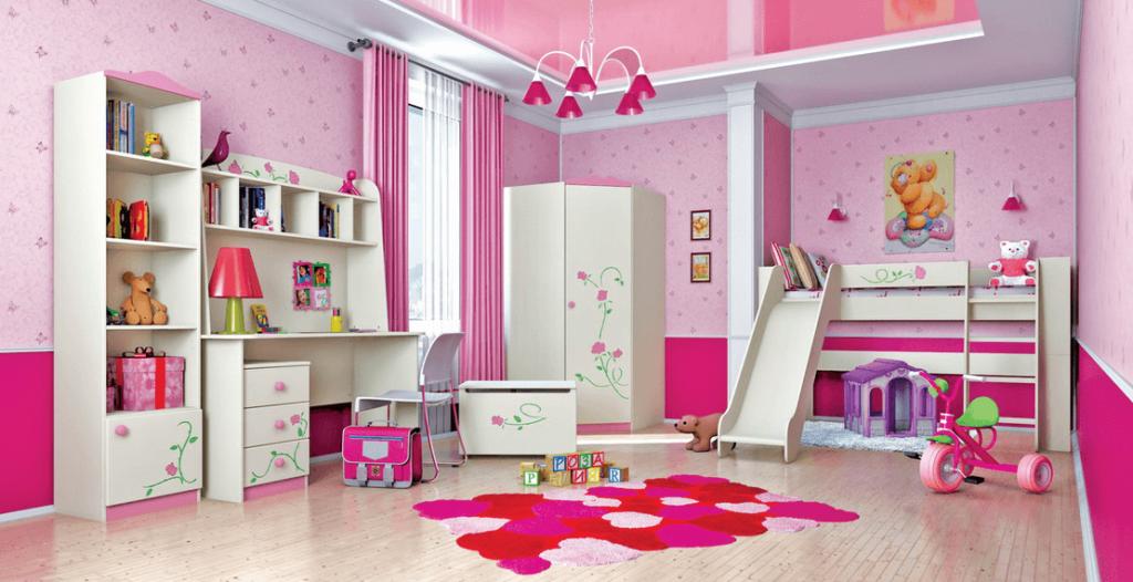 Спальня девочки в розовом цвете с угловым шкафом