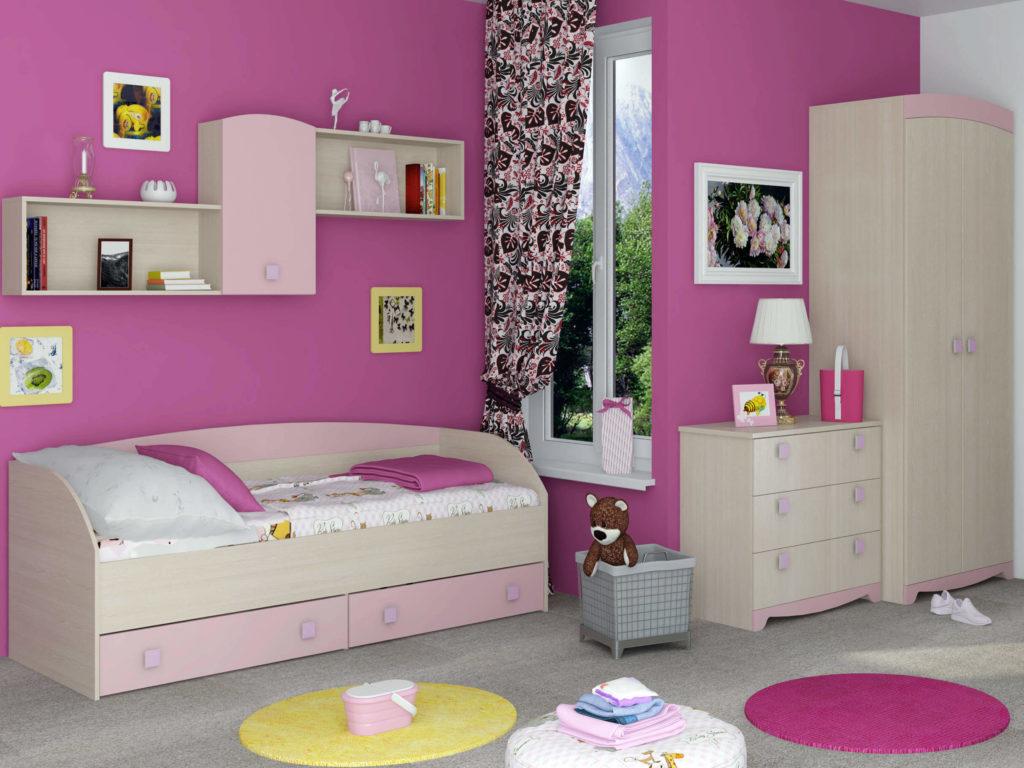 Розовая комната девочки со шкафом в интерьере